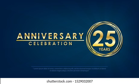 anniversary celebration emblem 25th years. anniversary logo with ring and elegance golden on dark blue background, vector illustration template design for celebration greeting and invitation card