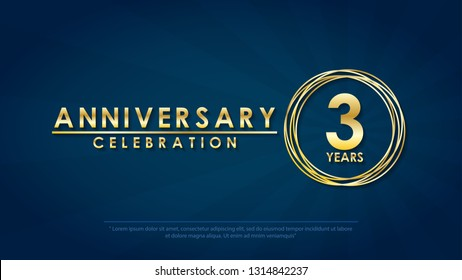 anniversary celebration emblem 3rd years. anniversary logo with ring and elegance golden on dark blue background, vector illustration template design for celebration greeting card and invitation card