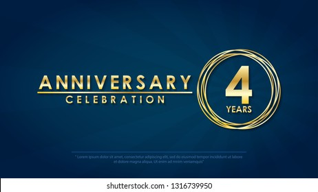 anniversary celebration emblem 4th years. anniversary logo with ring and elegance golden on dark black background, vector illustration template design for celebration greeting card and invitation card