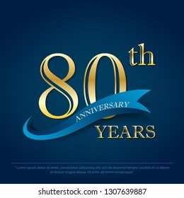 anniversary celebration emblem 80th years anniversary golden logo with blue ribbon on dark blue background, vector illustration template design for celebration greeting card and invitation