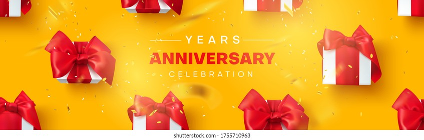 Anniversary celebration, poster with gifts and confetti. Holiday discount or sale, yellow background, vector illustration