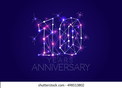 Anniversary design. Abstract form with connected lines and light dots. Vector Illustration