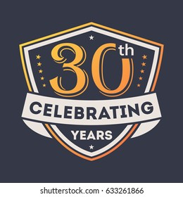 Anniversary design element with shield, 30th years label isolated vector illustration. Birthday party logo, holiday festive celebration emblem with number years jubilee.