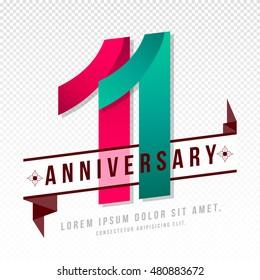 Anniversary emblems 11 anniversary template design