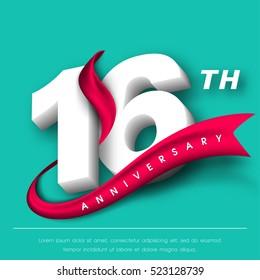 Anniversary emblems 16 anniversary template design