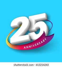 Anniversary emblems 25 anniversary template design