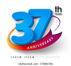 Anniversary emblems 37 anniversary template design