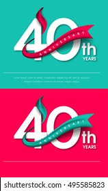 Anniversary emblems 40 anniversary template design