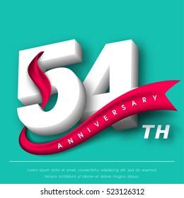 Anniversary emblems 54 anniversary template design