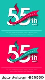 Anniversary emblems 55 anniversary template design