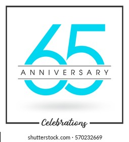 Anniversary emblems 65 anniversary template design