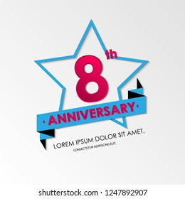 anniversary emblems 8th anniversary template design. vector illustration background