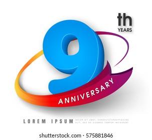 Anniversary emblems 9 anniversary template design