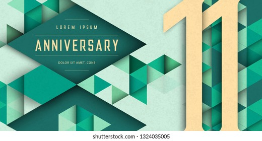 Anniversary emblems celebration logo, 11th birthday vector illustration, with texture background, modern geometric style and colorful polygonal design. 11 Anniversary template design, geometric design
