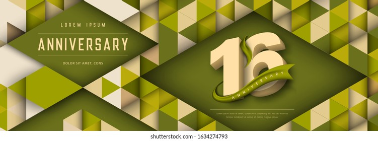 Anniversary emblems celebration logo, 16th birthday vector illustration, with texture background, modern geometric style and colorful polygonal design. 16 Anniversary template design, geometric design