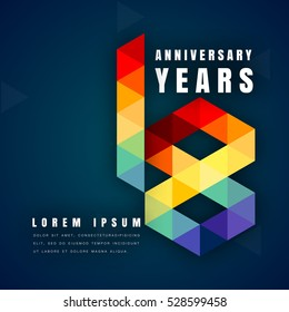 Anniversary emblems celebration logo, 18th birthday vector illustration, with dark blue background, modern geometric style and colorful polygonal design. 18 anniversary template design