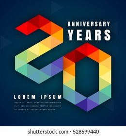 Anniversary emblems celebration logo, 20th birthday vector illustration, with dark blue background, modern geometric style and colorful polygonal design. 20 anniversary template design