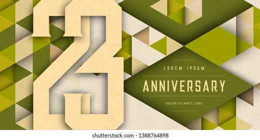 Anniversary emblems celebration logo, 23rd birthday vector illustration, with texture background, modern geometric style and colorful polygonal design. 23 Anniversary template design, geometric design