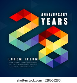 Anniversary emblems celebration logo, 28th birthday vector illustration, with dark blue background, modern geometric style and colorful polygonal design. 28 anniversary template design