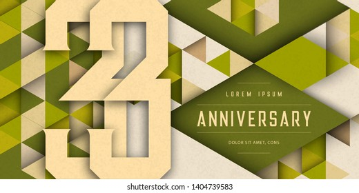 Anniversary emblems celebration logo, 33rd birthday vector illustration, with texture background, modern geometric style and colorful polygonal design. 33 Anniversary template design, geometric design