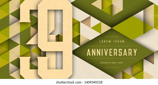 Anniversary emblems celebration logo, 39th birthday vector illustration, with texture background, modern geometric style and colorful polygonal design. 39 Anniversary template design, geometric design