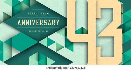 Anniversary emblems celebration logo, 43rd birthday vector illustration, with texture background, modern geometric style and colorful polygonal design. 43 Anniversary template design, geometric design