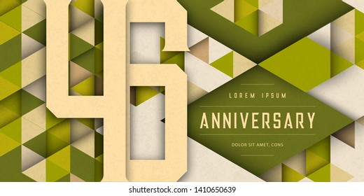 Anniversary emblems celebration logo, 46th birthday vector illustration, with texture background, modern geometric style and colorful polygonal design. 46 Anniversary template design, geometric design