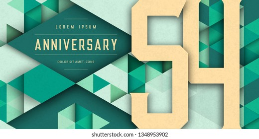 Anniversary emblems celebration logo, 54th birthday vector illustration, with texture background, modern geometric style and colorful polygonal design. 54 Anniversary template design, geometric design