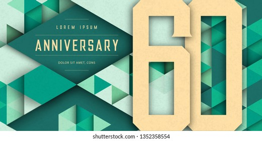 Anniversary emblems celebration logo, 60th birthday vector illustration, with texture background, modern geometric style and colorful polygonal design. 60 Anniversary template design, geometric design