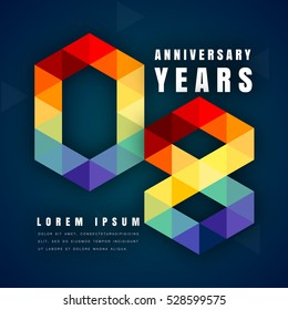 Anniversary emblems celebration logo, 8th birthday vector illustration, with dark blue background, modern geometric style and colorful polygonal design. 8 anniversary template design