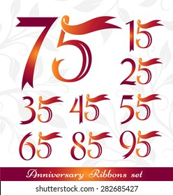Anniversary emblems set. Celebration icons with numbers from ribbons. 15th, 25th, 35th, 45th, 55th, 65th, 75th, 85th, 95th sign collection.