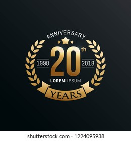 Anniversary emblems template design with gold number style
