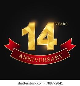 anniversary, anniversary, fourteen years,14 years anniversary celebration logotype.