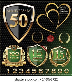 Anniversary gold and green labels