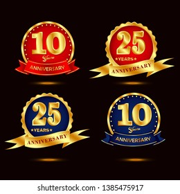 anniversary gold vector set  element