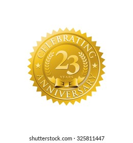 anniversary golden badge logo 23
