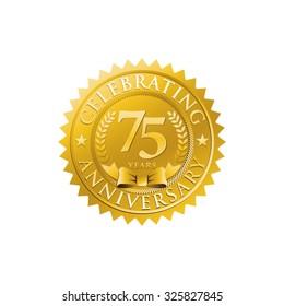 anniversary golden badge logo 75