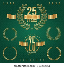 Anniversary golden emblems and decorative elements - vector illustration (green background - seamless)