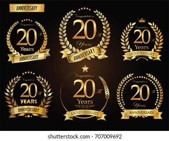 Anniversary golden laurel wreath vector collection