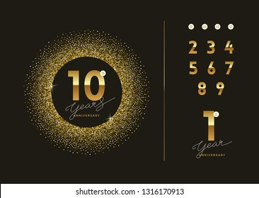 Anniversary golden logo with glitter gold frame. There is additional elements for compilation any dates. Vector illustration.