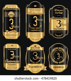 Anniversary golden retro vintage labels collection 3 years