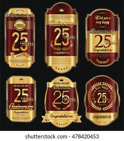 Anniversary golden retro vintage labels collection 25 years