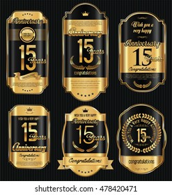 Anniversary golden retro vintage labels collection 15 years