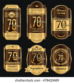 Anniversary golden retro vintage labels collection 70 years