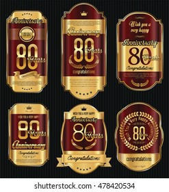 Anniversary golden retro vintage labels collection 80 years