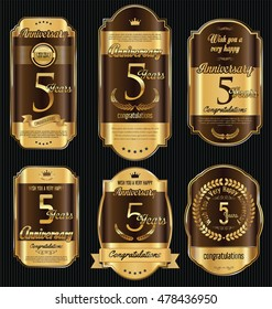 Anniversary golden retro vintage labels collection 5 years