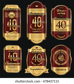 Anniversary golden retro vintage labels collection 40 years