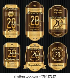 Anniversary golden retro vintage labels collection 20 years