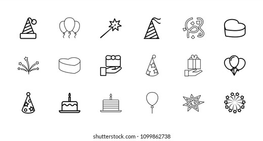 Anniversary icon. collection of 18 anniversary outline icons such as cake with one candle, gift, sparklers, party hat, balloon. editable anniversary icons for web and mobile.
