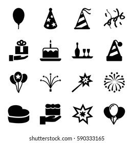 anniversary icons set. Set of 16 anniversary filled icons such as cake with one candle, heart cake, party hat, balloon, fireworks, confetti, wine bottle and glass